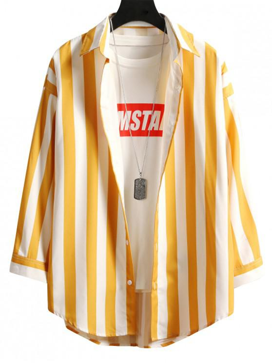 Contrast Striped Curved Hem Button Shirt - الأصفر 4XL