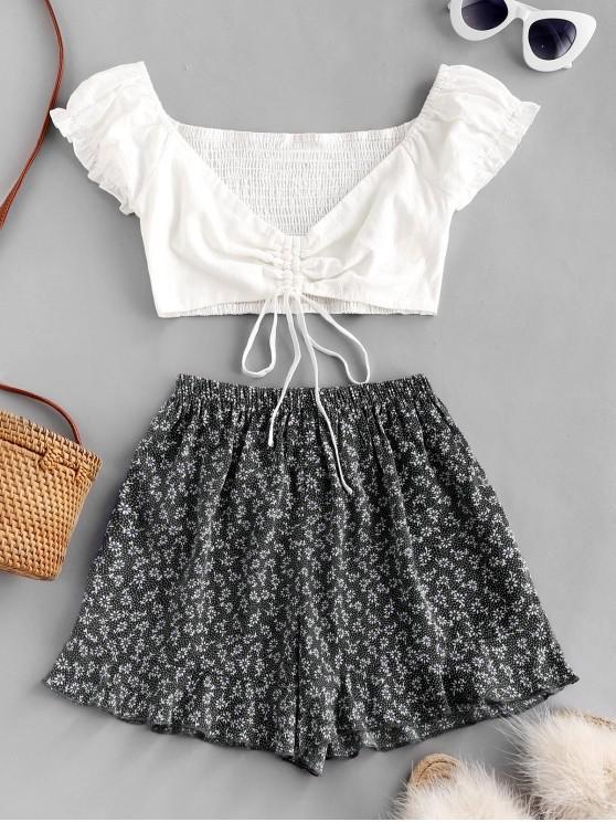 buy Ditsy Print Cinched Ruffle Loose Shorts Set - BLACK M