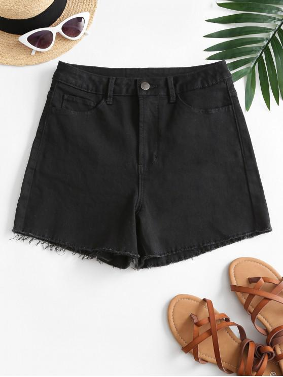 outfit High Waisted Frayed Panel Denim Shorts - BLACK S