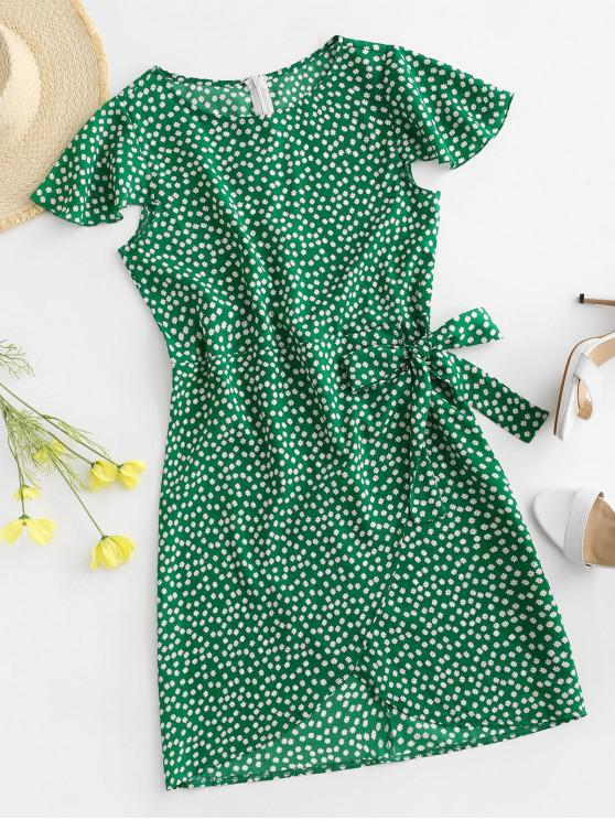 outfits Flutter Sleeve Tie Waist Ditsy Floral Dress - GREEN S