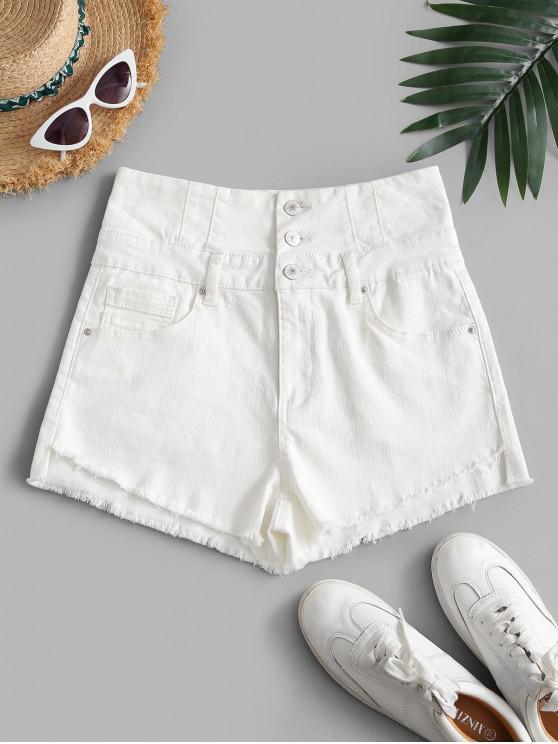 fashion Frayed Hem High Low Denim Shorts - WHITE M