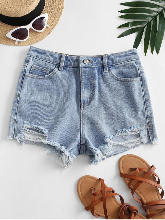 Destroyed Frayed Hem Denim Cutoff Shorts - أزرق M