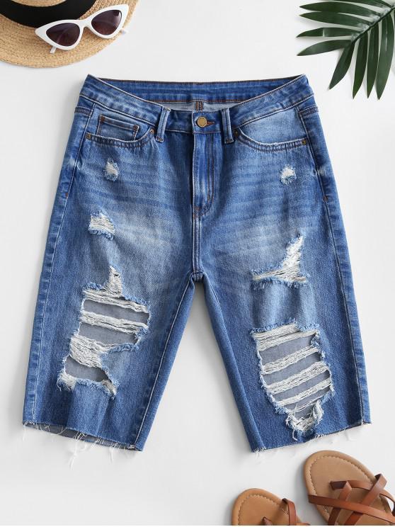 shops Destroyed Frayed Denim Knee Length Shorts - BLUE M