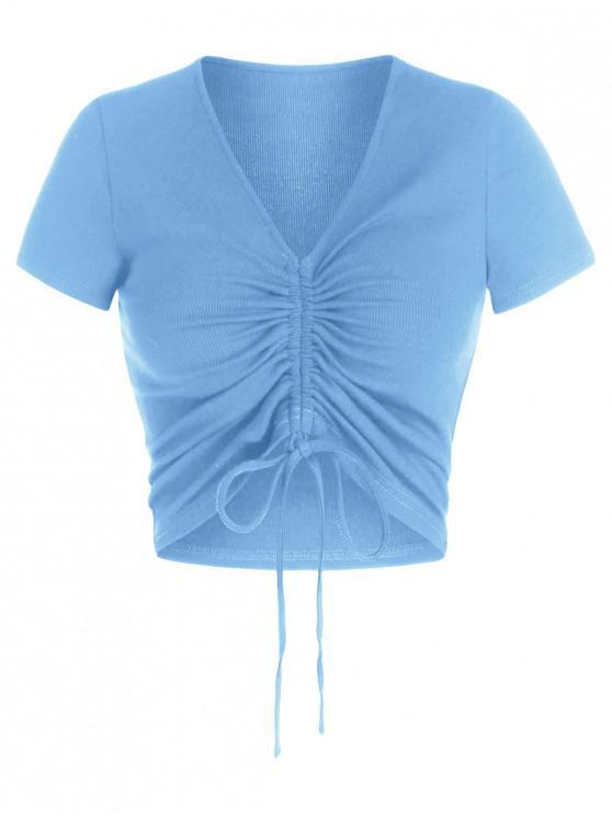 latest ZAFUL Cinched V Neck Crop T Shirt - SKY BLUE M
