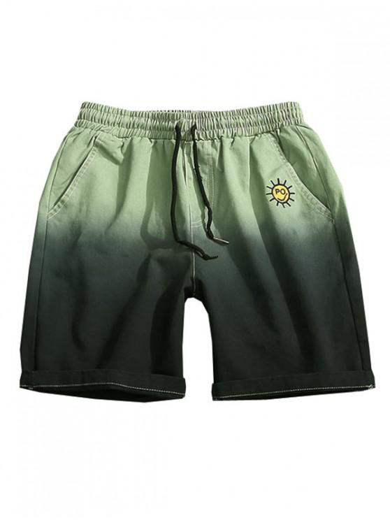 online Embroidery Pattern Ombre Print Drawstring Shorts - LIGHT GREEN XS