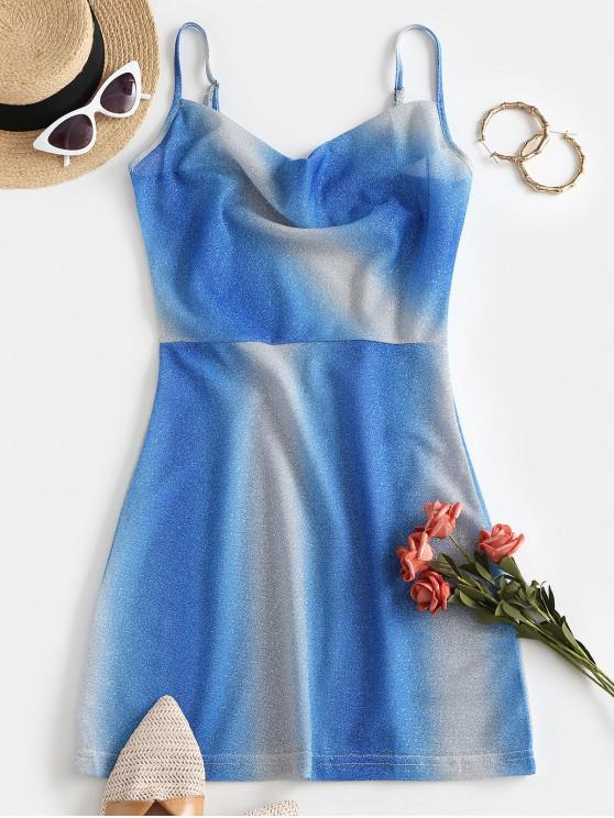 outfit Sparkly Metallic Thread Ombre Cowl Front Dress - BLUE L
