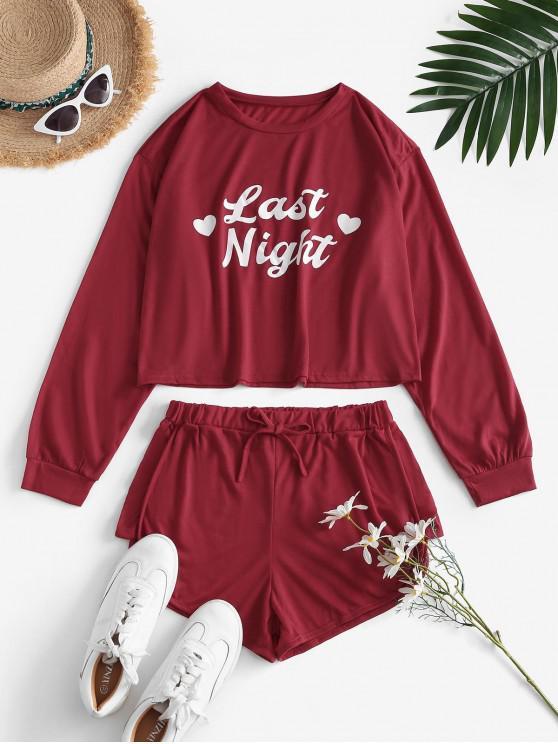Top con Maniche Lunghe e Pantaloni da Notte Grafici a Lettere - Profondo rosso L