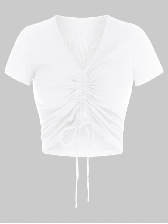 affordable ZAFUL Cinched V Neck Crop T Shirt - WHITE S