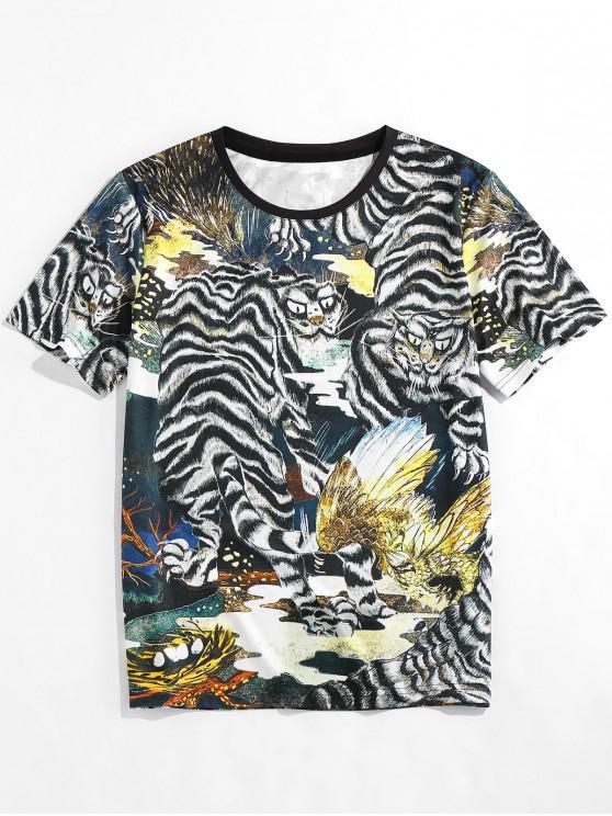 unique ZAFUL Animal Print Round Neck Oriental T-shirt - BLACK XL
