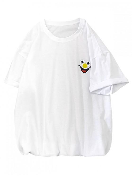 T-Shirt Basic con Grafica e Stampa a Pagliaccio - Bianca 2XL