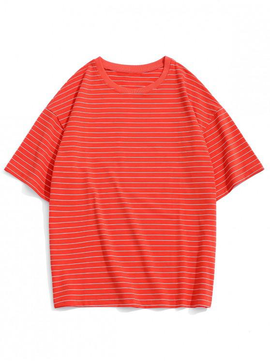 women Pinstriped Drop Shoulder T Shirt - RED 3XL