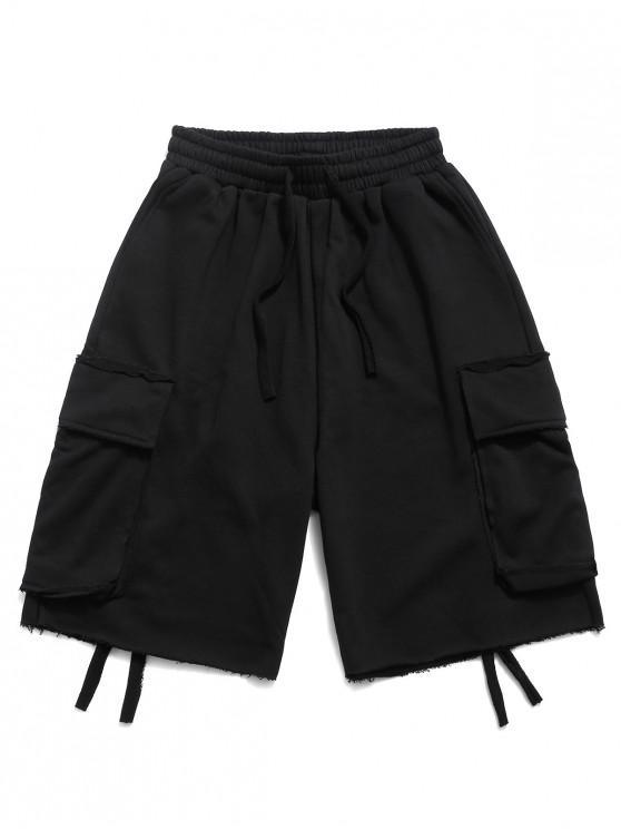 Flap Pocket Solid Drawstring Cargo Shorts - أسود 3XL