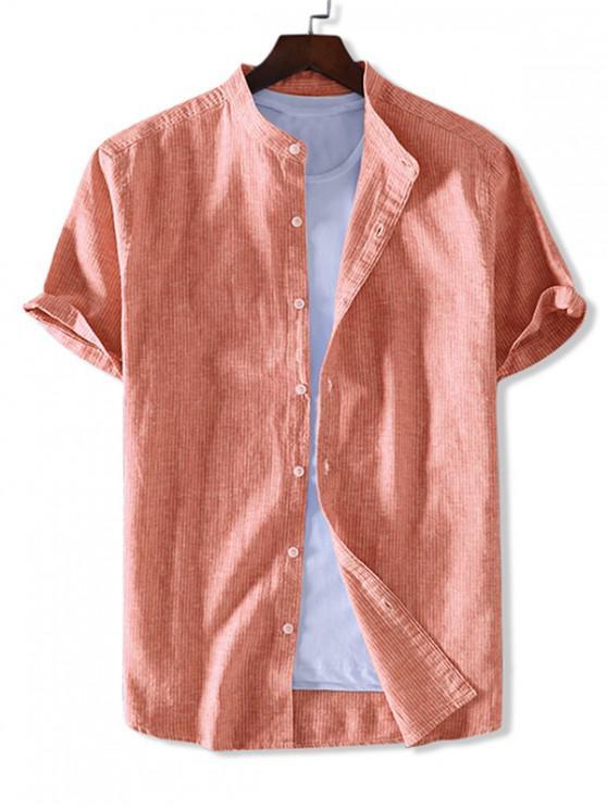 ZAFUL Kurzärmliges Hemd mit Streifenmuster - Dunkles Orange 2XL