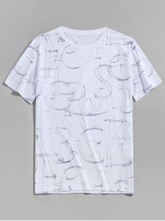 T-shirt Lettre Encre Imprimé Manches Courtes à Col Rond - Blanc XL