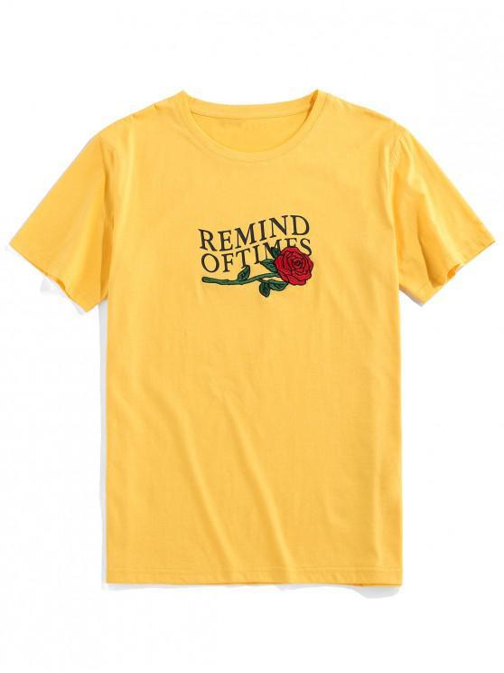 ZAFUL Flower Embroidered Letter Print T-shirt - الأصفر S