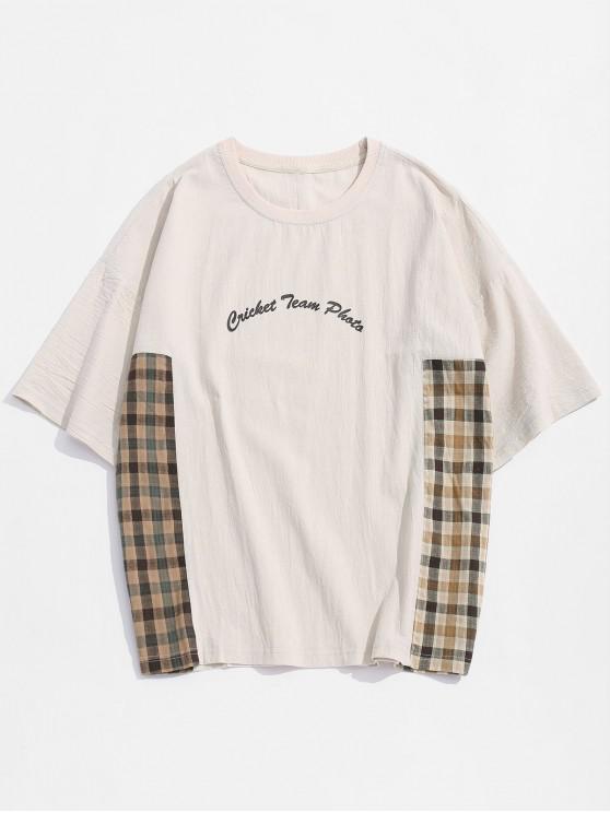 Plaid Panel Letter Print T Shirt - فانيلا 3XL