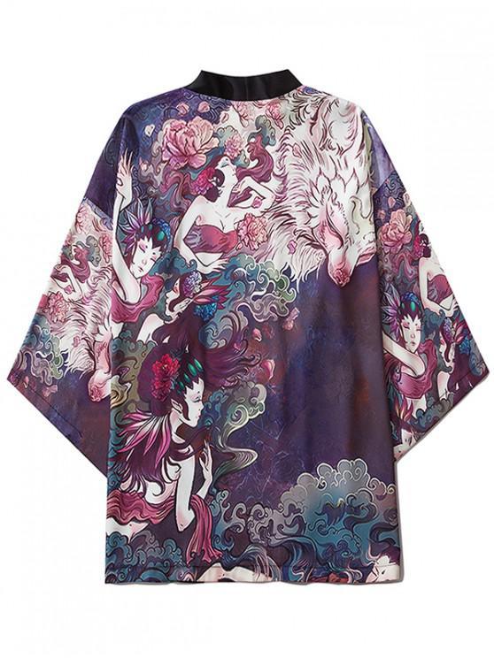 women Open Front Women Beauty Print Oriental Kimono Cardigan - PURPLE IRIS 2XL