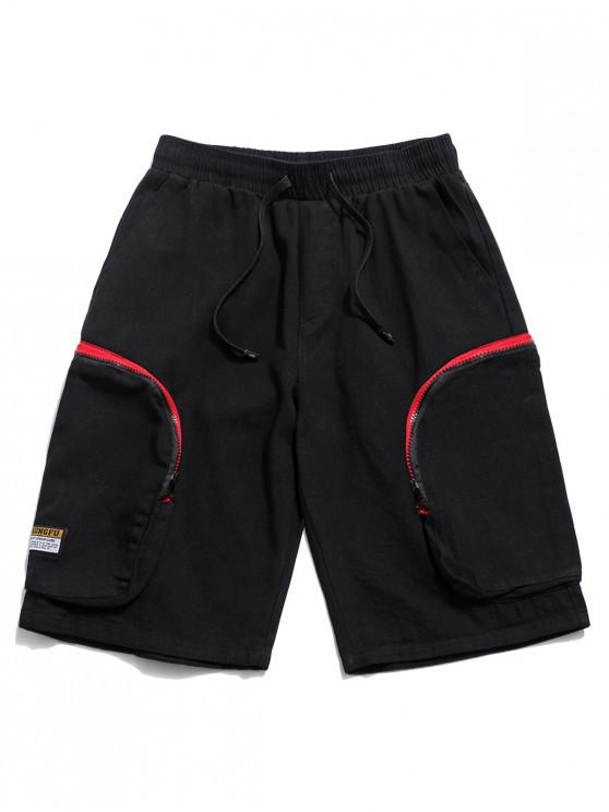 outfit Side Zipper Pockets Drawstring Cargo Shorts - BLACK 2XL