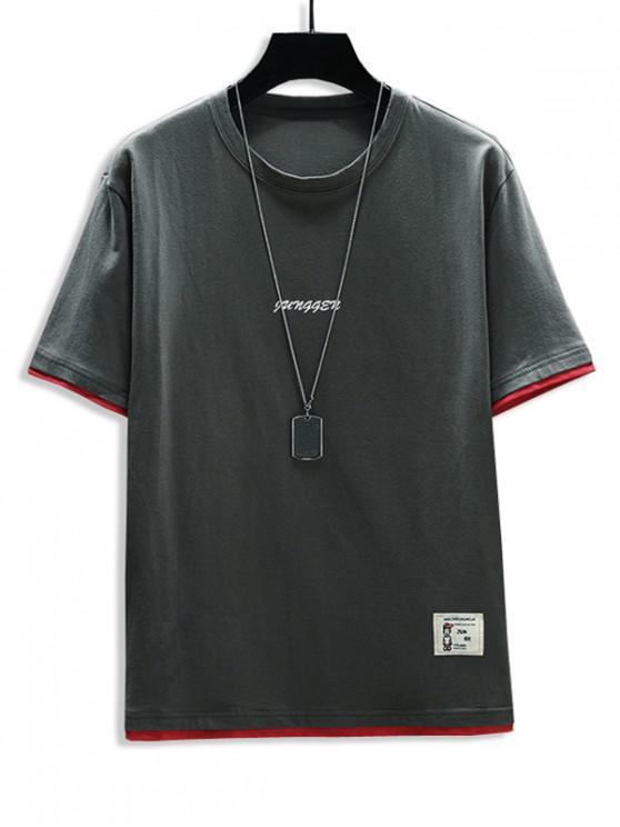 hot Letter Print 2fer Applique T-shirt - DARK GRAY 2XL
