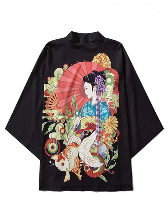 Geisha Koi Peisaj Imprimare orientale chimono Cardigan - Negru 2XL