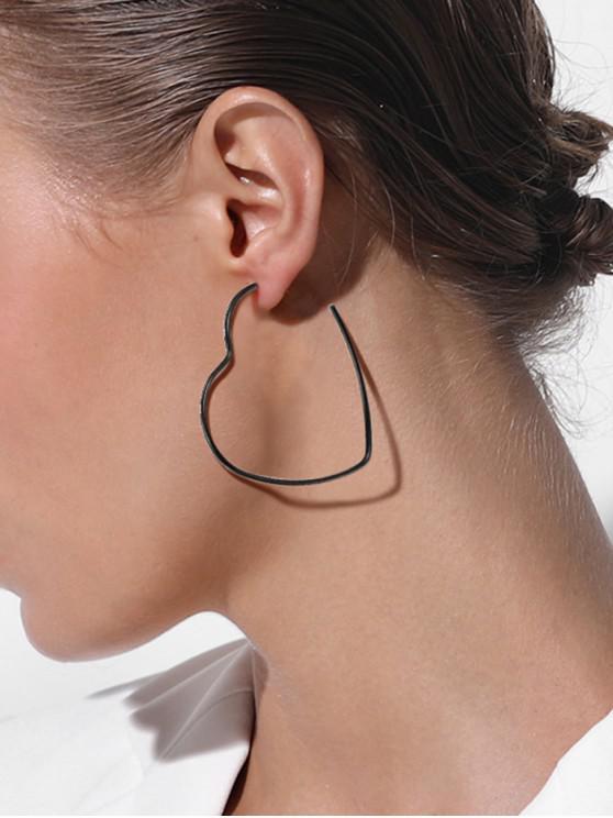 fancy Black Gun Plated Heart Hollow Stud Earrings - BLACK