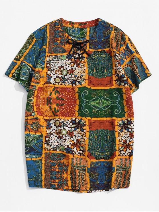Embroidery Design Paint Printed T-shirt - اصفر غامق M