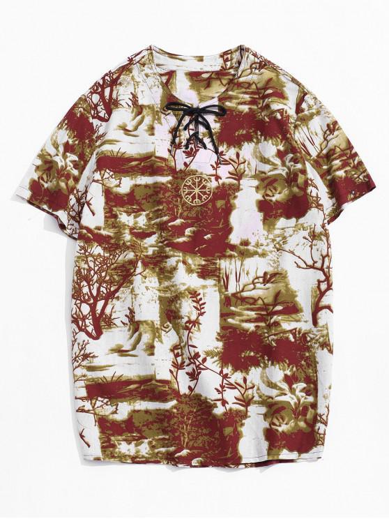 Camiseta Casual con Bordado con Mangas Cortas - Amarillo profundo 2XL