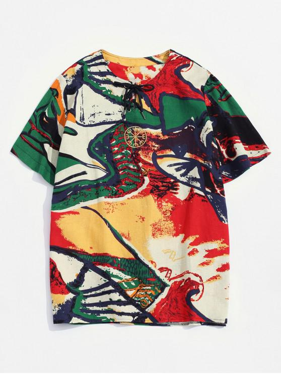 Embroidered Decoration Printed Casual T-shirt - أحمر L