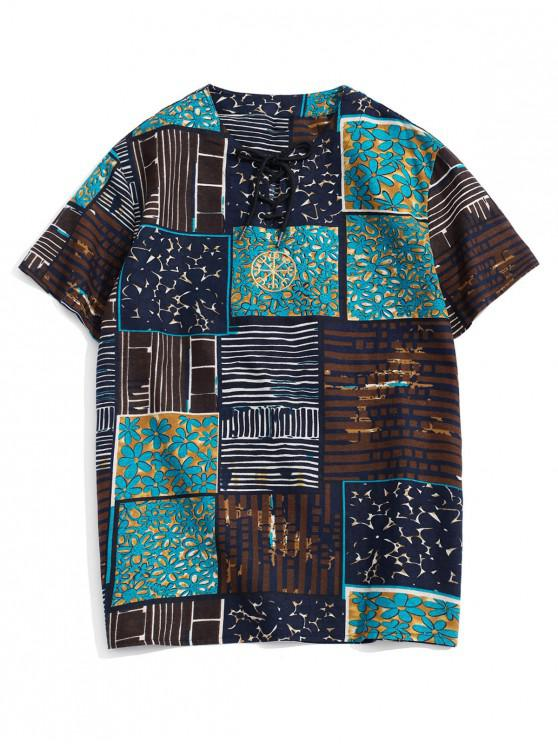 Embroidery Design Painting Print T-shirt - أسود 4XL