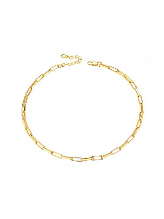affordable Copper 18K Gold Plated Chain Choker Necklace - GOLDEN