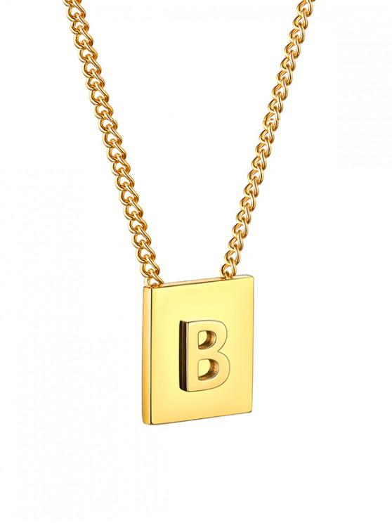 trendy Stainless Steel 18K Gold Plated Square Initial Necklace - GOLDEN B