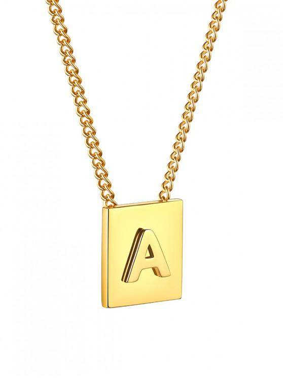 Stainless Steel 18K Gold Plated Square Initial Necklace - ذهبي ا