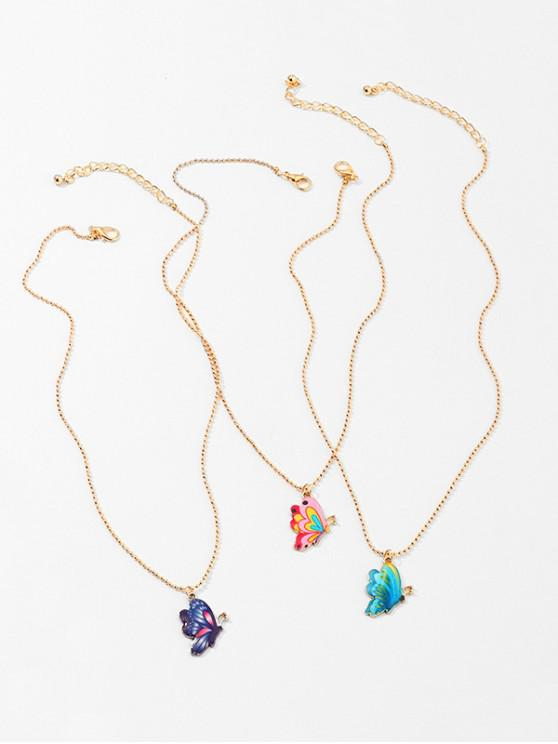 3Pcs Colored Butterfly Necklace Set - ذهب