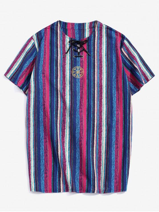 Embroidery Decoration Striped Print T-shirt - أرجواني M