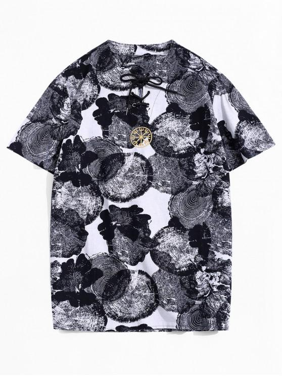 Embroidered Design Graphic Printed T-shirt - أبيض 4XL