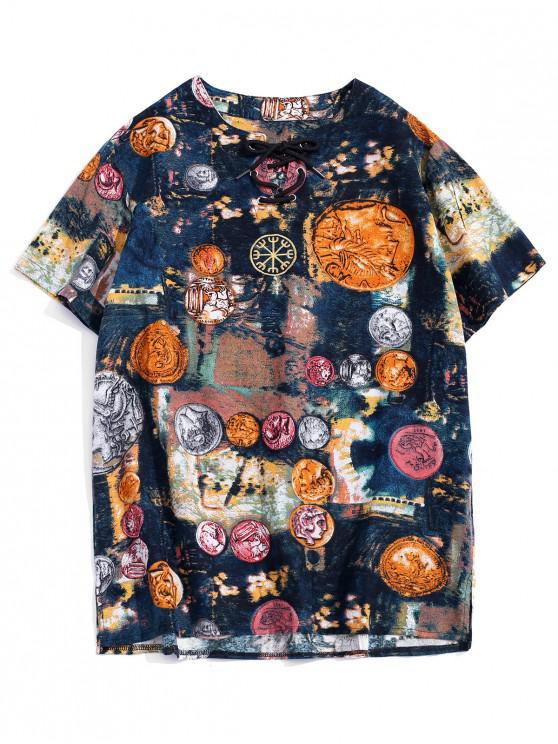 women Embroidery Design Paint Printed T-shirt - DEEP BLUE 4XL