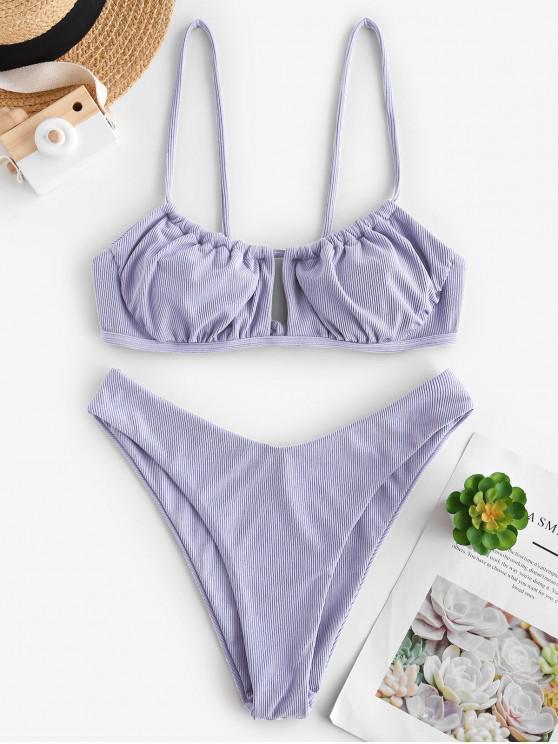 best ZAFUL Ribbed High Cut Ruched Tie Bikini Swimwear - LIGHT PURPLE S