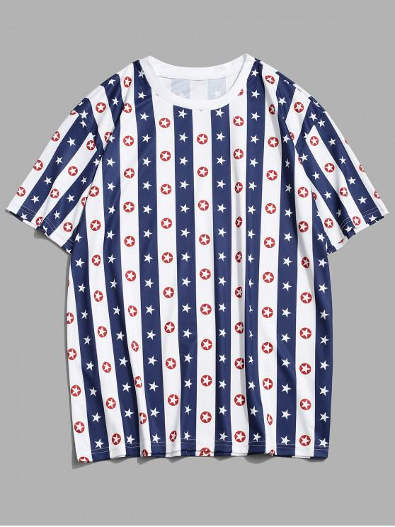 online Striped Star Print Casual T-shirt - COBALT BLUE 2XL