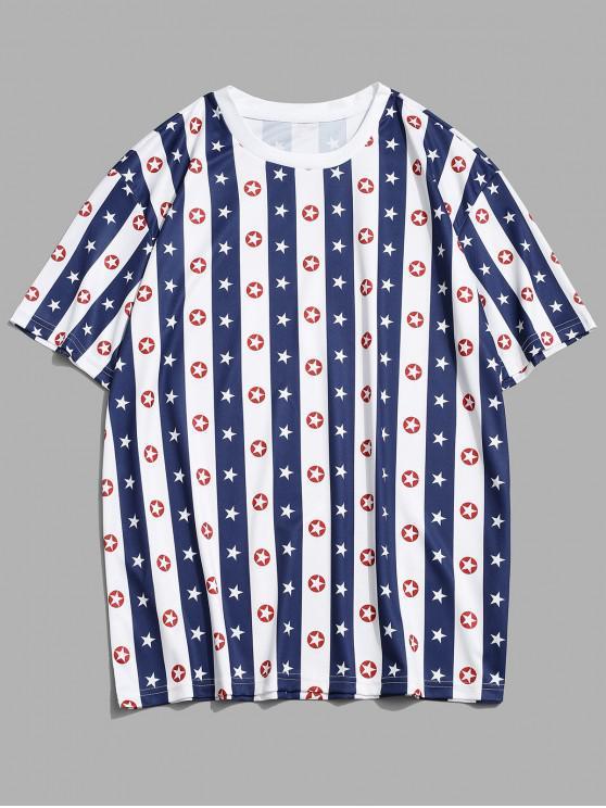 ladies Striped Star Print Casual T-shirt - COBALT BLUE 3XL