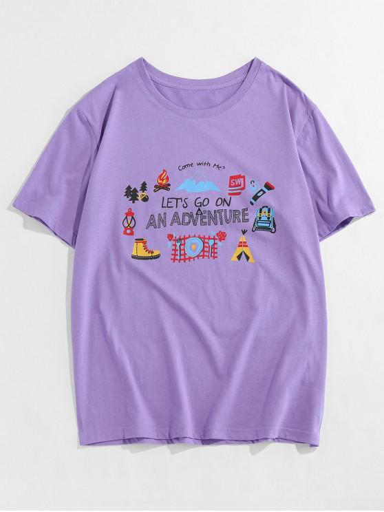 T-shirt Graphique Manches Courtes à Col Rond - Pourpre 2XL