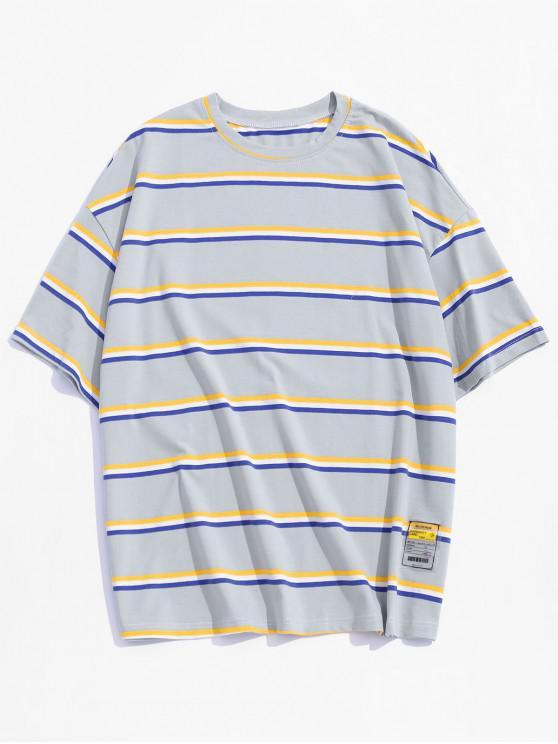 ドロップショルダーストライプTシャツ - ライトブルー S