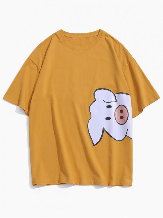 Cartoon Pig Pattern Basic Tee - نحلة صفراء XL