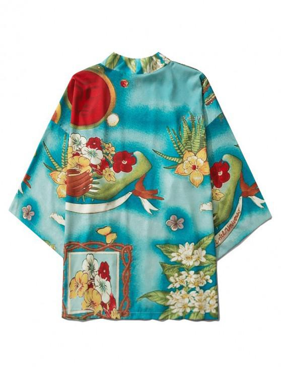 online Flower Print Open Front Kimono Cardigan - MEDIUM TURQUOISE 2XL