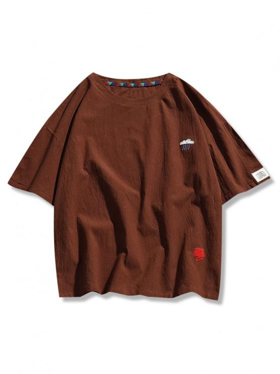 unique Embroidery Oriental Graphic T-shirt - COFFEE M