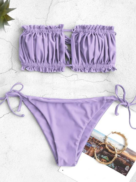 unique ZAFUL Ruffle Tie Side Low Waisted Bandeau Bikini Swimsuit - LIGHT PURPLE S