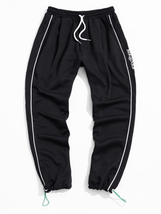Contrast Stripes Trim Drawstring Sweatpants - أسود 2XL