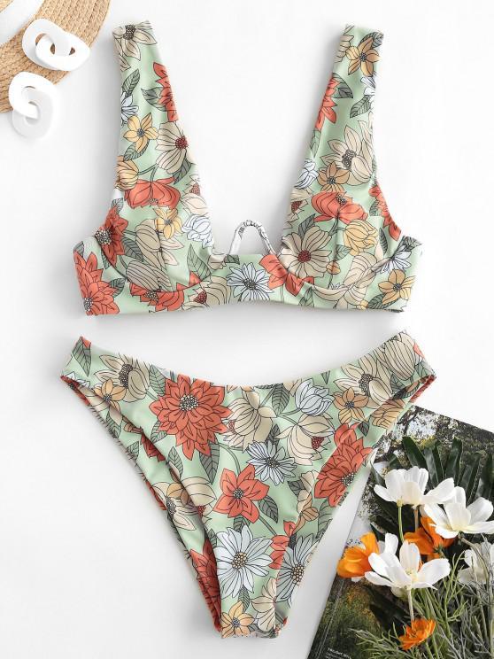 shop ZAFUL Flower Print Push Up Bikini Swimwear - MULTI-A L