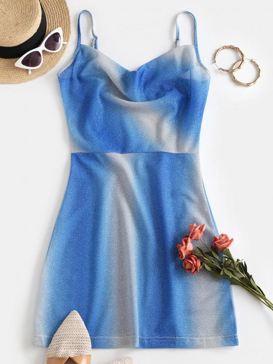 latest Sparkly Metallic Thread Ombre Cowl Front Dress - BLUE S