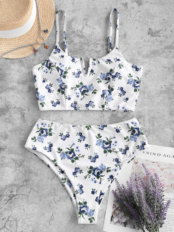 hot ZAFUL Floral V Wired High Cut Tankini Swimwear - WHITE M