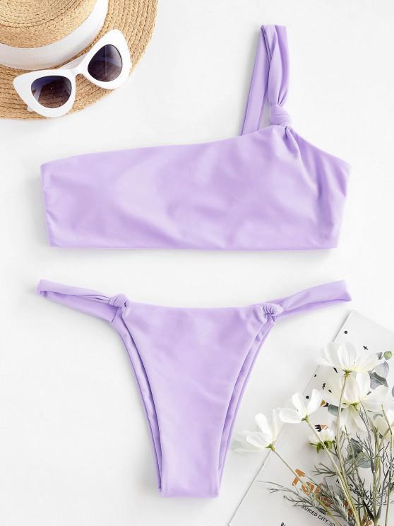 online ZAFUL Knot One Shoulder Bikini Swimwear - LIGHT PURPLE S